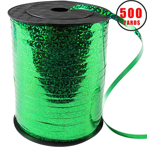 - 500 Yards Shiny Green Curling Balloon Ribbon,3/16-Inch Balloon String Gift Wrapping Ribbon Perfect for Birthday Weddings Party Decorations