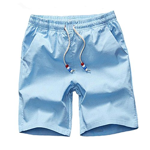 s Male Fitness Workout Man Fashion Shorts Men 5XL K66 Sky Blue XXL (Lion Linen Yarn)