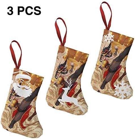クリスマスの日の靴下 (ソックス3個)クリスマスデコレーションソックス オリエンタルカンフーガール クリスマス、ハロウィン 家庭用、ショッピングモール用、お祝いの雰囲気を加える 人気を高める、販売、プロモーション、年次式