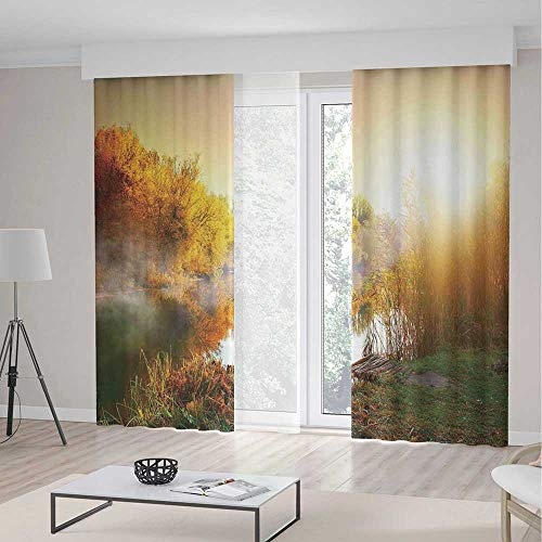 iPrint Landscape Blackout Curtains,Secluded Misty Sunrise Ov