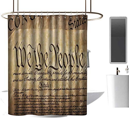 Mannwarehouse United States Shower stall Curtains Vintage Constitution Text of America National Glory Fourth of July Image goof Proof Shower W55 xL87