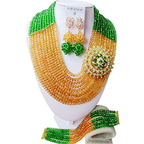laanc 10filas hierba verde y oro champán nigeriano cuentas africanos joyería conjuntos Wedding Party
