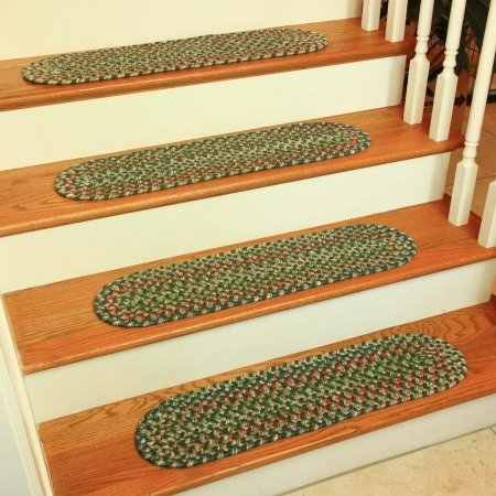 (Rhody Rug KA63A008X028-13 Katie Multi Braided Stair Tread, Sage - Set Of 13)