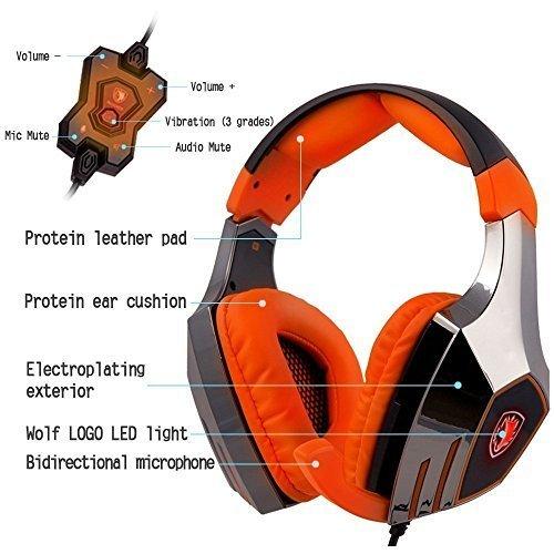 Sades A60 Headphones Microphone Orange