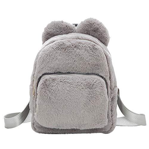 Travel Gray WILLTOO Handbag Student Women Plush Backpack Simple for Crossbody School Bag Bag Tote AHXRq