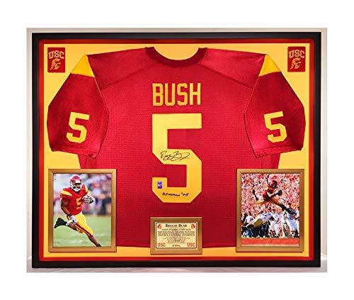 Premium Framed Reggie Bush Autographed/Signed USC Tojans Official Nike Jersey - GTSM COA