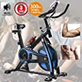 Exercise Bike Recumbent Cycle Bike Trainer Indoor Cycling Bike Stationary with LCD Display and Bottle Holder Static Spin Exercise & Fitness Equipment for Home Office Cardio Workout Bike Training Blue