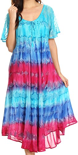 Sakkas cotone tie Boho Sula lungo lacci Sundress largo ricamato dye Cover Up collo in Rosa Turq wxIrIXvq