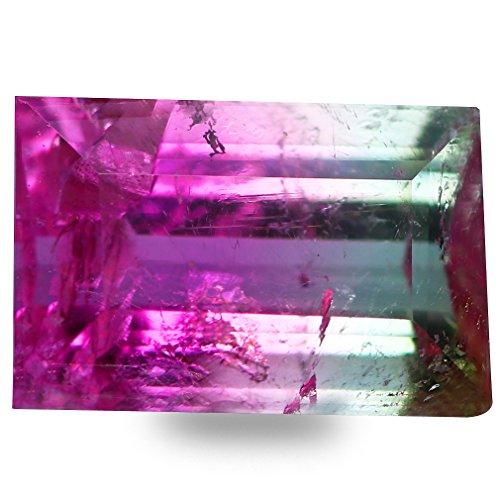 Deluxe Gems 0.40 ct Octagon Cut (5 x 3 mm) Un-Heated Bi-Color Brazilian Watermelon Tourmaline Natural Loose Gemstone