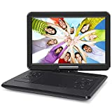 NAVISKAUTO 14'' Portable DVD Player with 6-7 Hours Rechargeable Battery, 270 Degrees Swivel Screen 1366X768, 9.84ft Car Charger/Wall Charger, Support USB/SD Card Playback, Region Free