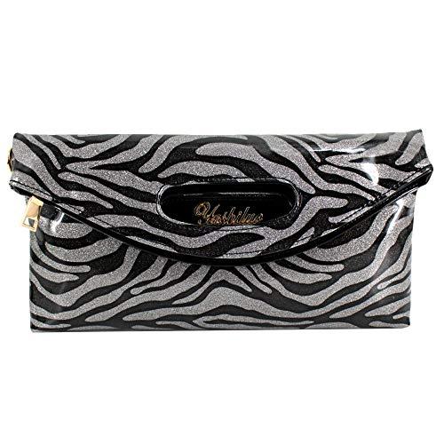 Aisa Women Fashion Patent Leather Clutch Glossy Envelope Handbag Shoulder Bag (Animal ()