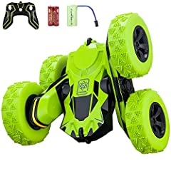 Remote Control Stunt Car- RC 4WD off roadrechargeable 2.4GHz 3D deformation racing vehicle,double sidedrotating tumbling 360 degree flips off road High speed 7.5mph truck, toy giftfor kids Features:  1. Stylish and steady shell slot car: Thes...