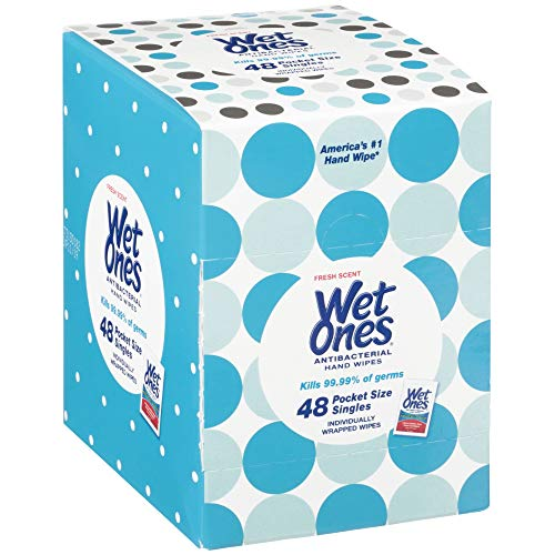Wet Ones Antibacterial Hand Wipes, Fresh Scent, 48 Individually Wrapped Wipes in a Dispenser, Packaging May Vary