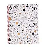 Twist Writing Notebook B5 Size Wirebound English Notebook with 4 lines for Practicing Letters and Number,Handwriting,Doing Homework,60 Sheets, School Stationery Gift for Primary Schoolers