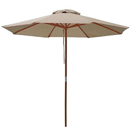 Yescom 9ft Wooden Outdoor Patio Table Umbrella W//Pulley Market Garden Yard Beach Deck Cafe Decor Sunshade