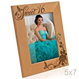 Kate Posh - Sweet 16 Picture Frame - Engraved Natural Wood Photo Frame - Sweet 16 Gifts, Sweet Sixteen Birthday Gifts (5x7-Vertical)