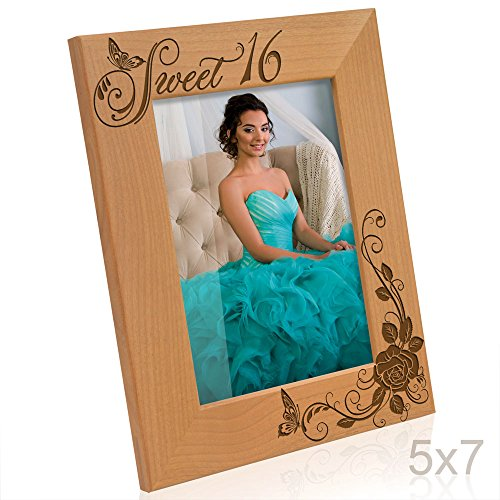 Kate Posh - Sweet 16 Picture Frame - Engraved Natural Wood Photo Frame - Sweet 16 Gifts, Sweet Sixteen Birthday Gifts (5x7-Vertical) by Kate Posh