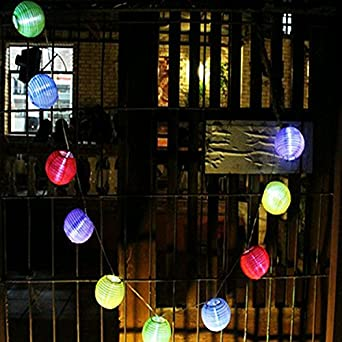 Vinteky® Lampions LED Lichterkette Für Weihnachten Blumendekor Hochzeit  Zimmer Dekoration Beleuchtung (Bunt, 20