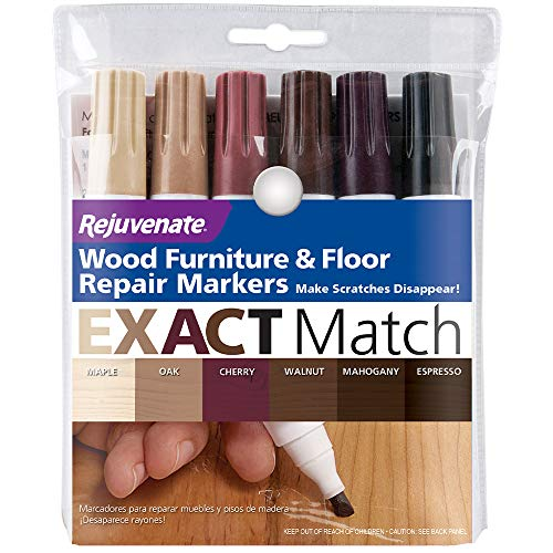 Rejuvenate New Improved Colors Wood Furniture & Floor Repair Markers Make Scratches Disappear in Any Color Wood Combination of 6 Colors Maple Oak Cherry Walnut Mahogany and Espresso (Best Way To Repair Paint Chips On Your Car)
