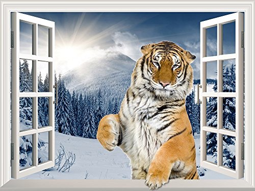 Removable Wall Sticker Wall Mural A Standing Tiger with a Paw on the Windowsill Creative Window View Wall Decor