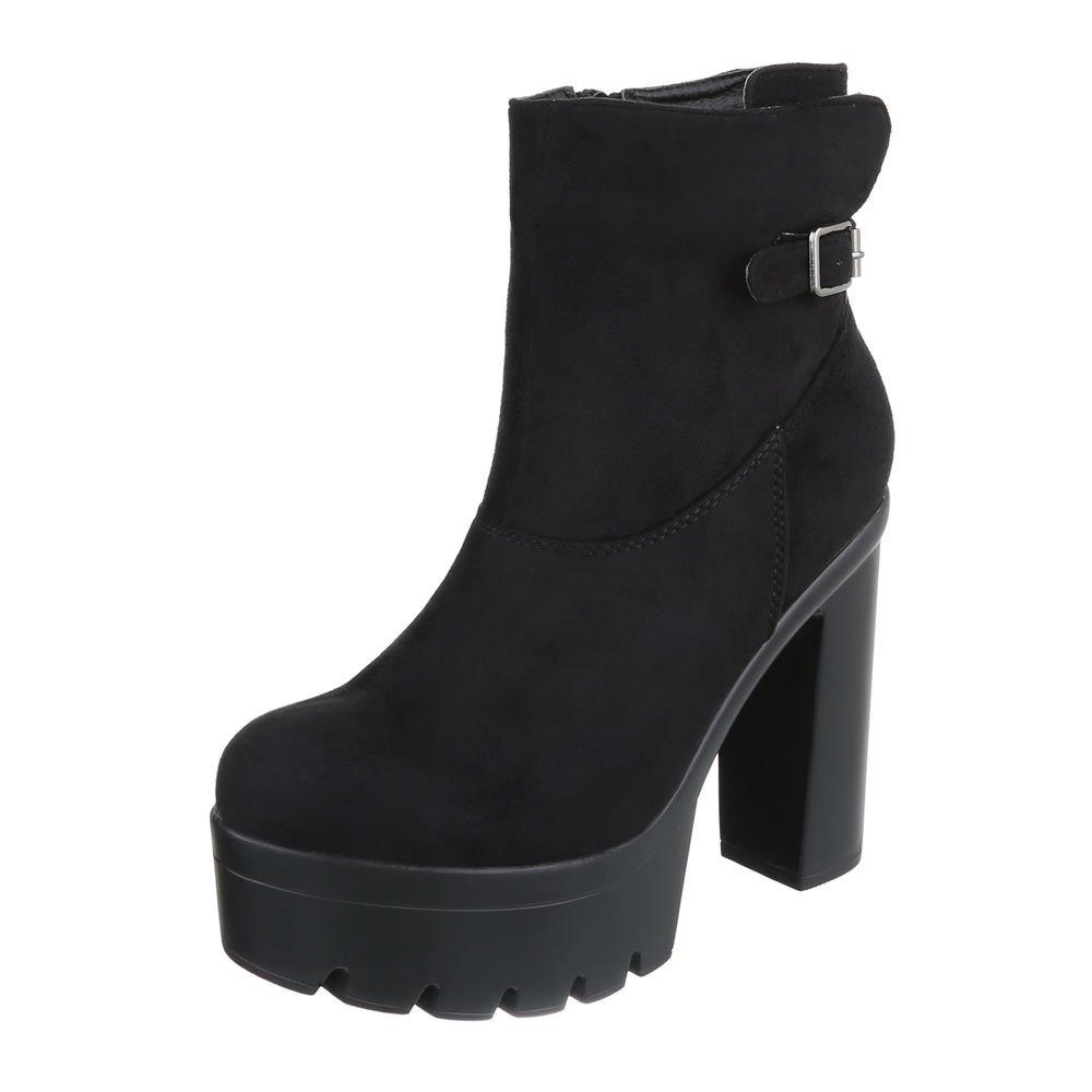 Ital-Design High Heel Stiefeletten Damenschuhe Schlupfstiefel Pump High Heels Reißverschluss Stiefeletten  37 EU Schwarz
