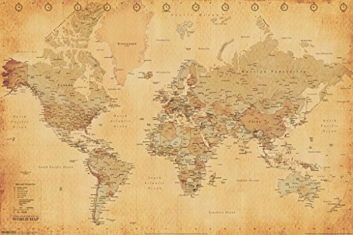 World Map Vintage Style Longitude Latitude Earth Atlas Poster