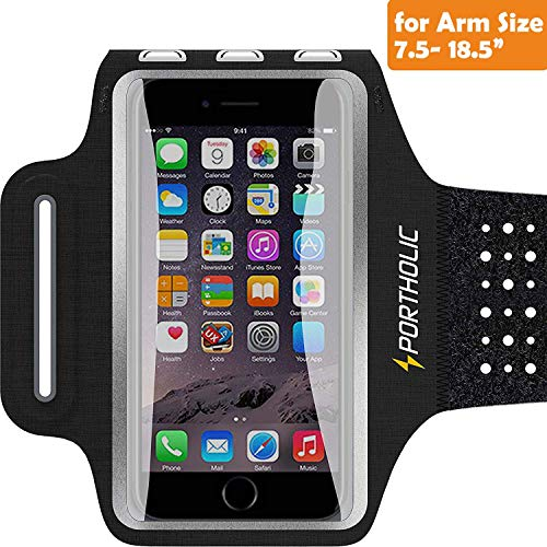 Sweat Resistant Armband Fits iPhone Xs Max XR X 8 7 6 6s Plus PORTHOLIC Phone Running Holder Sports Workout Case for Samsung Galaxy S9 + s8 s7 s6 Edge Note 8 5 LG G6 [Stretchy] 7-18 Inch Arm
