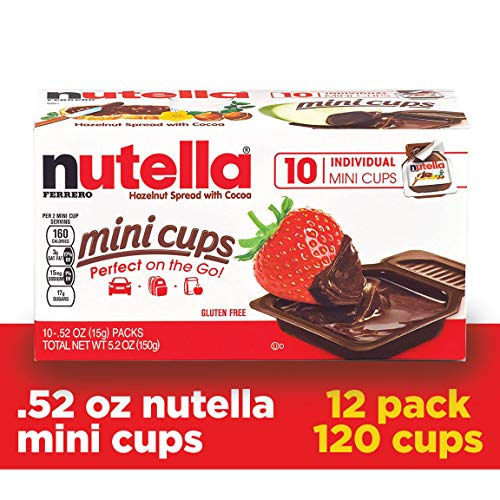 Nutella Chocolate Hazelnut Spread, Single Serve Mini Cups, .52 oz. each, Pack of Twelve 10-Count Boxes