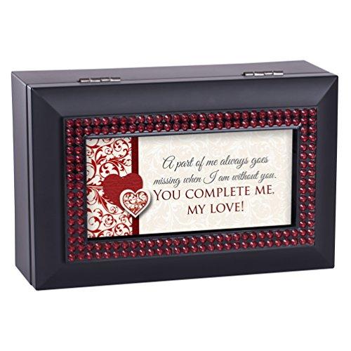 Cottage Garden You Complete Me Black Red Rhinestone Bead Petite Music Box Plays Wonderful World ()