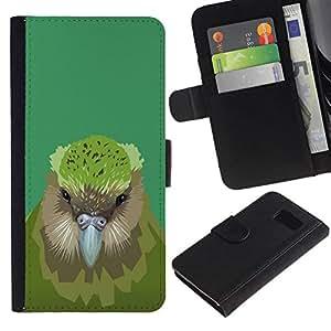// PHONE CASE GIFT // Moda Estuche Funda de Cuero Billetera Tarjeta de crédito dinero bolsa Cubierta de proteccion Caso Samsung Galaxy S6 / Kiwi Bird /