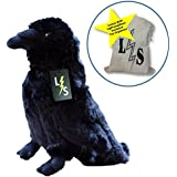 LightningStore Adorable Cute Black Crow Bird Stuffed Animal Doll Realistic Looking Plush Toys Plushie Children's Gifts Animals + Toy Organizer Bag Bundle
