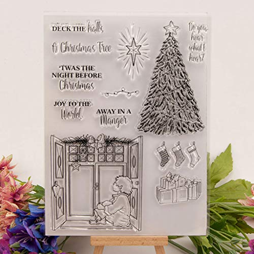 Shaoge Christmas Tree Clear Stamp Cling Seal DIY Xmas Card Making Kit -