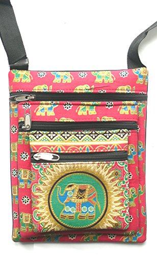 Rosa tres bolsillo elefante bolso bandolera con correa ajustable
