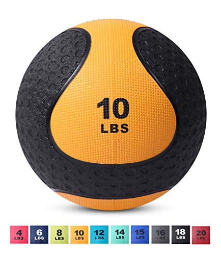 Medicine Exercise Ball with Dual Texture for Superior Grip by Day 1 Fitness - 10 Pounds - Fitness Balls for Plyometrics, Workouts - Improves Balance, Flexibility, Coordination