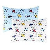 IBraFashion Toddler Pillowcases for Boys 100% Cotton 14x19 for 13x18, 12x16 Toddler Pillow Airplanes Printings Set of 2