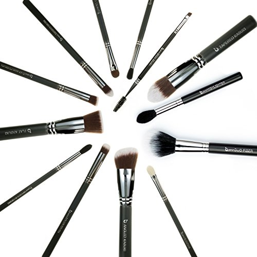 (Expert 13pc Makeup Brush Set - Foundation, Blush, Concealer, mini Contour, Tapered, mini Round Kabuki, Eyeshadow Tapered Blending, All Over Shader, Blending, Crease, Eyebrow, Duo Fiber,)