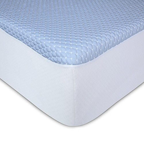 Sleep Chill Crystal Gel Mattress Protector with Cooling Fibers and Blue 3-D Fabric, Twin