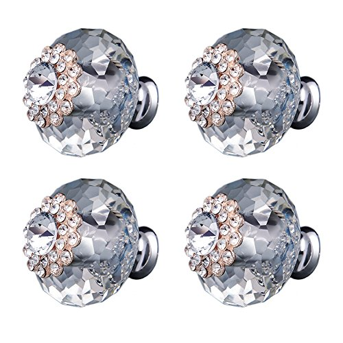 Whale GoGo 4 Pieces 40mm x 40mm Crystal Diamond Rhinestone Door Knobs Cabinet Drawer Cupboard Pull Handles (Transparent - Rhinestone Bronze Crystal