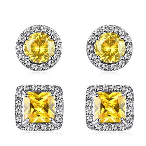 (Quinlivan Duo 2pairs Cubic Zirconia Stud Earrings 10mm, Round Square Cut Rhinestone Halo Earrings Hypoallergenic for Women, Girls (citrine))
