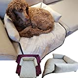 Dog Bed with Bolster - Cat & Dog Bed for Sofas, Chairs or Beds - Multi Purpose Pet Bed & Sofa Cover for Pets with Bolster Cushions for Comfort and Protection (Large, Light Grey)