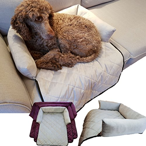 Cat & Dog Bed Couch Cover - for Sofas, Chairs or Beds - Multi Purpose Pet Bed, Sofa & Furniture Protector for Pets with Bolster Cushions for Comfort and Protection (Regular, Light Grey)