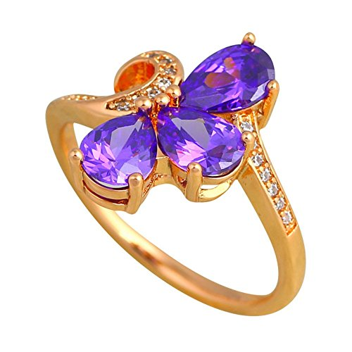 PSRINGS Precious Rings Gold color Jewelry Crystal Zircon Element Ring 9.5