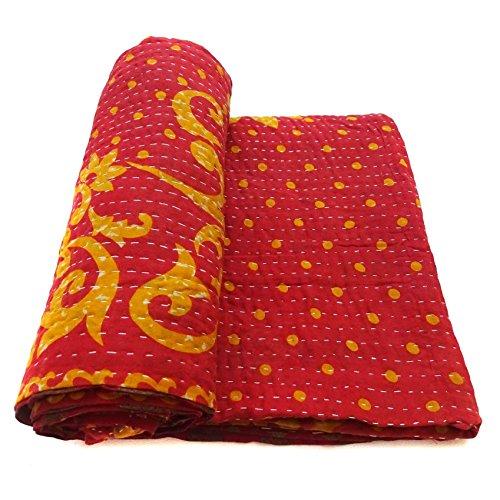 Vintage Kantha Quilt Handmade Indian Cotton Bedspread Blanket Bedding Throw