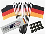 Box of 12 Germany 4''x6'' Polyester Miniature Desk & Little Table Flags, 4x6 German Small Mini Hand Waving Stick Flags with 12 Flag Bases (Stands)