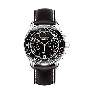 Zeppelin 100 Years Chronograph Men's Date Watch Black Leather 7674-2