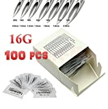 100 Body Piercing Needles Sizes 16 Gauge, Sterilized Disposable Packaging with Sterilizer Bag