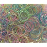 GREEN FABWOOD Generic Refill Bands Pack of 1200 Glitter Style 1 Rubber Bands with 50 S-Clips