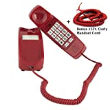 Trimline Corded Phone - Phones for Seniors - Phone for Hearing impaired BONUS/15 FT Matching Handset Curly Cord - Crimson Red - Big Button Retro Novelty Telephone