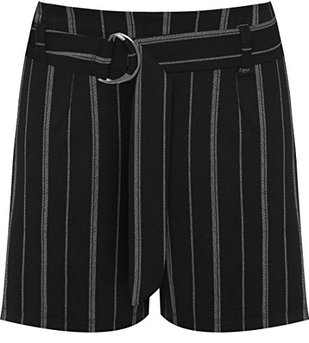WearAll Women's Metal Buckle Belt High Waisted Pinstriped Print Shorts Hot Pants - Black - US 8-10 (UK 12-14)