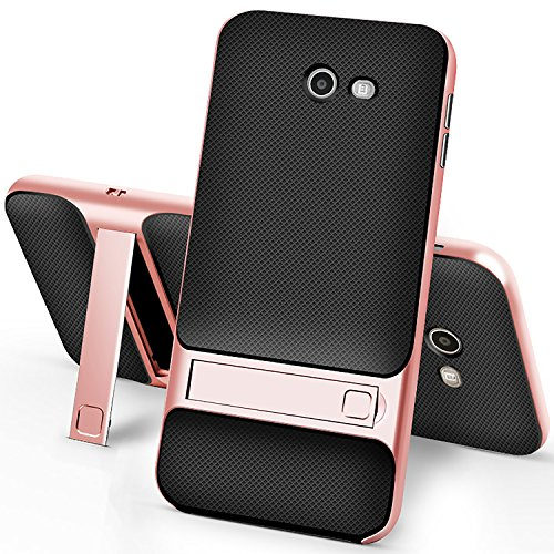 Samsung Galaxy J7 Case,Setber Cross Hatch TPU Back Cover+Colorful Bumper Dual layer 2 in 1 with Kickstand for Galaxy J7 2017/J7 V/J7 Sky Pro/J7 Perx/J7V 2017/J7 Prime(2017 Release)-Rose Gold